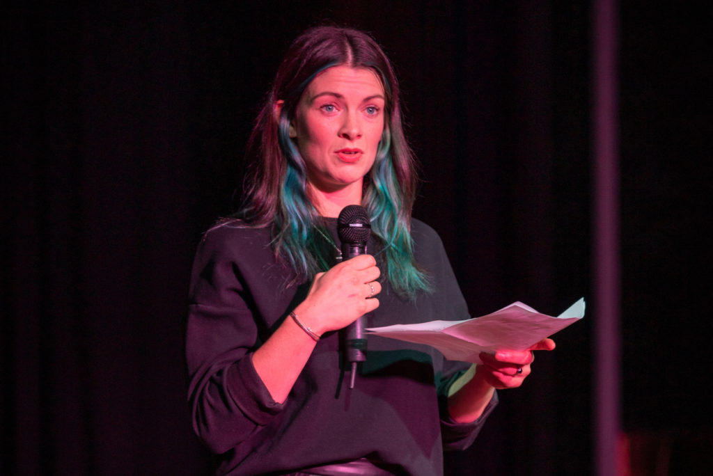 Toni-Ann Buckle Weavers on stage at Seaside Summit